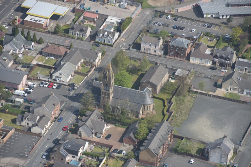 Oblique aerial view of St Ignatius' Catholic Church, looking NE.