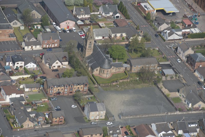 Oblique aerial view of St Ignatius' Catholic Church, looking NNW.