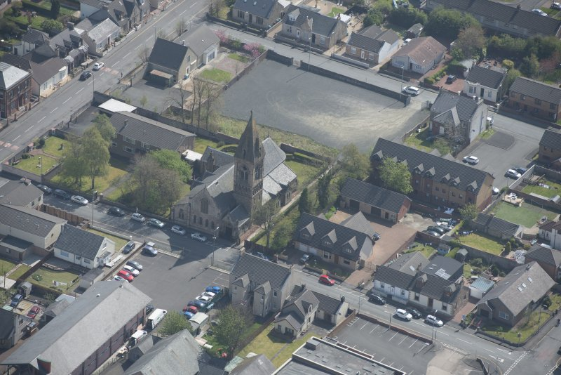 Oblique aerial view of St Ignatius' Catholic Church, looking ESE.