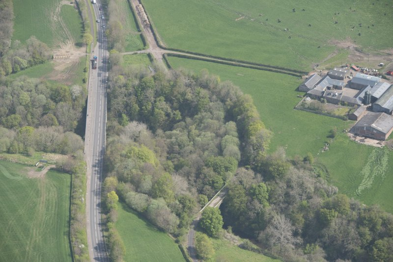 Oblique aerial view of Canderside Bridge and Cander Bridge, looking NE.