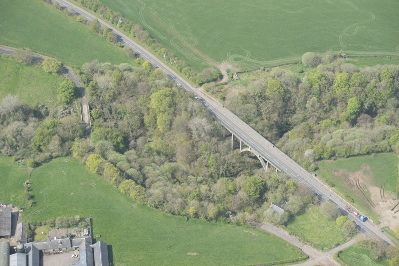 Oblique aerial view of Canderside Bridge and Cander Bridge, looking W.