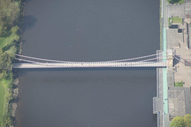 Oblique aerial view of South Portland Suspension Bridge, looking WNW.