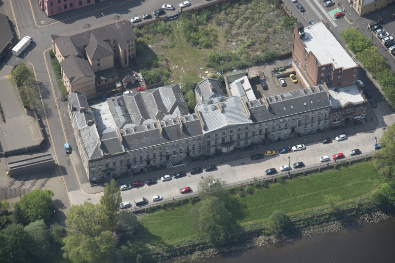 Oblique aerial view of Carlton Place, looking SW.