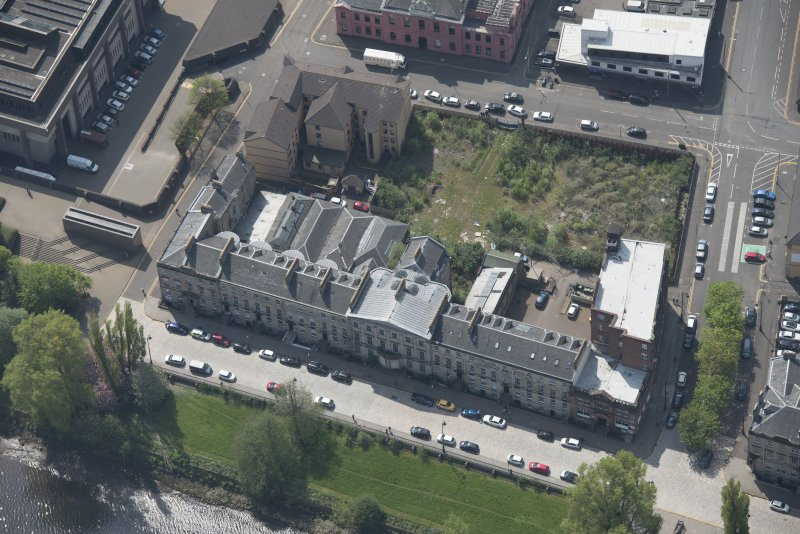 Oblique aerial view of Carlton Place, looking S.