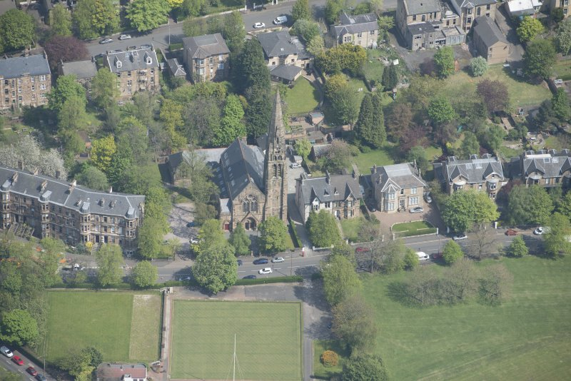 Oblique aerial view of Queen's Park Church and Hall, looking NNE.