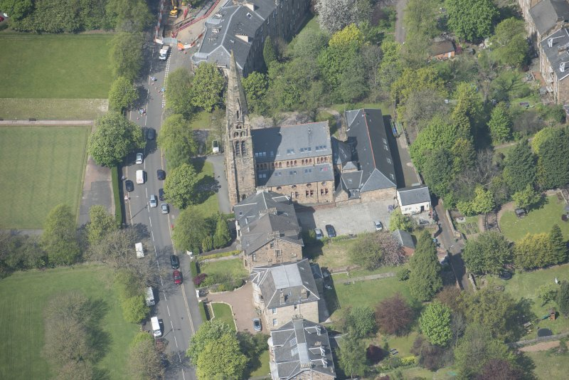 Oblique aerial view of Queen's Park Church and Hall, looking NW.