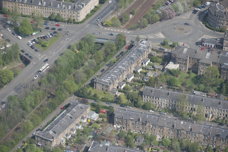 Oblique aerial view of 36 Ibrox Terrace, Strathbungo Station and Moray Place, looking NNE.