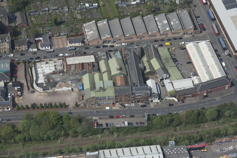 Oblique aerial view of Darnley Street Printing Works, looking WNW.