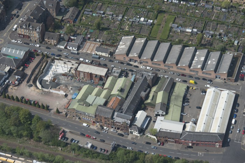 Oblique aerial view of Darnley Street Printing Works, looking W.