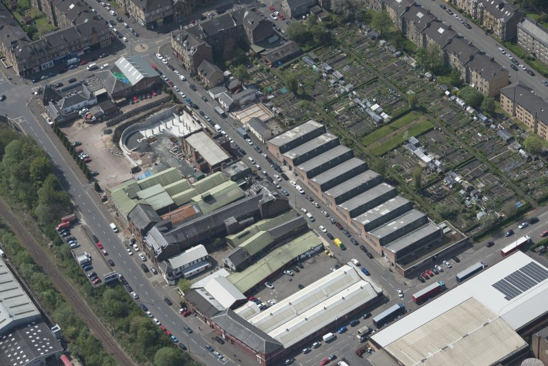 Oblique aerial view of Darnley Street Printing Works, looking SW.