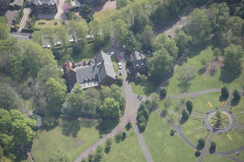 Oblique aerial view of Pollokshields Burgh Hall, looking SSE.