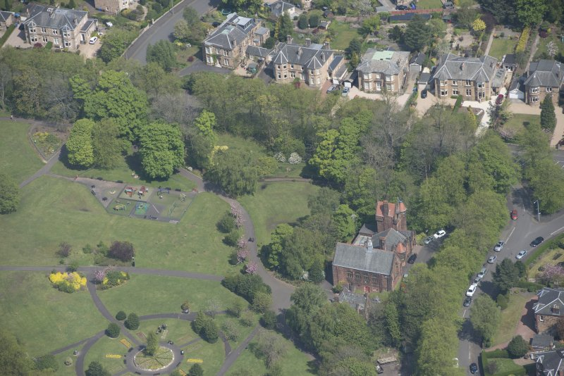 Oblique aerial view of Pollokshields Burgh Hall, looking NNE.