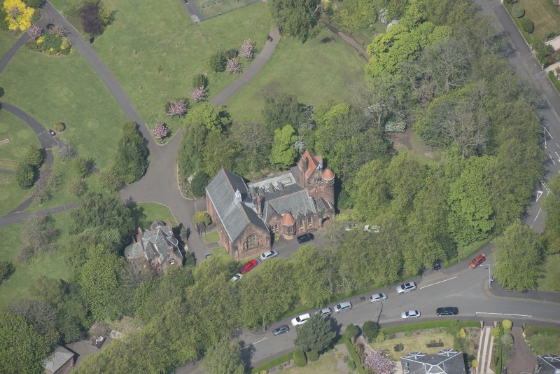 Oblique aerial view of Pollokshields Burgh Hall, looking NNW.