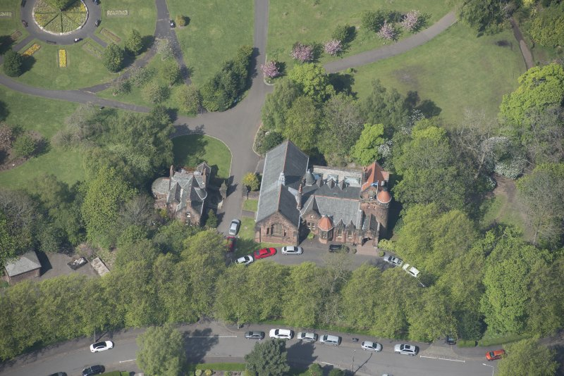 Oblique aerial view of Pollokshields Burgh Hall, looking NW.
