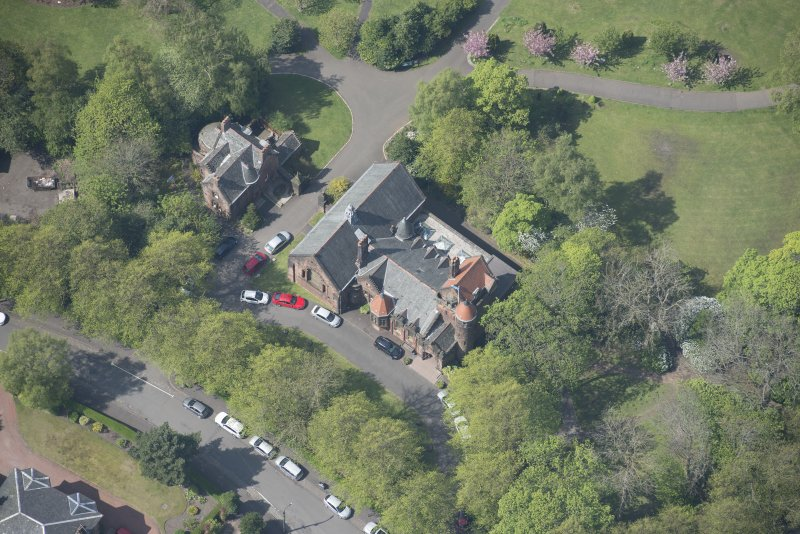 Oblique aerial view of Pollokshields Burgh Hall, looking W.