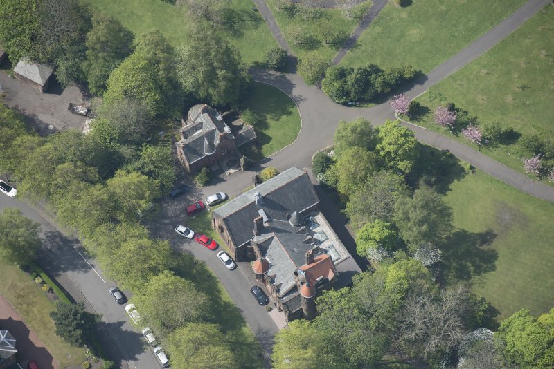 Oblique aerial view of Pollokshields Burgh Hall, looking WSW.