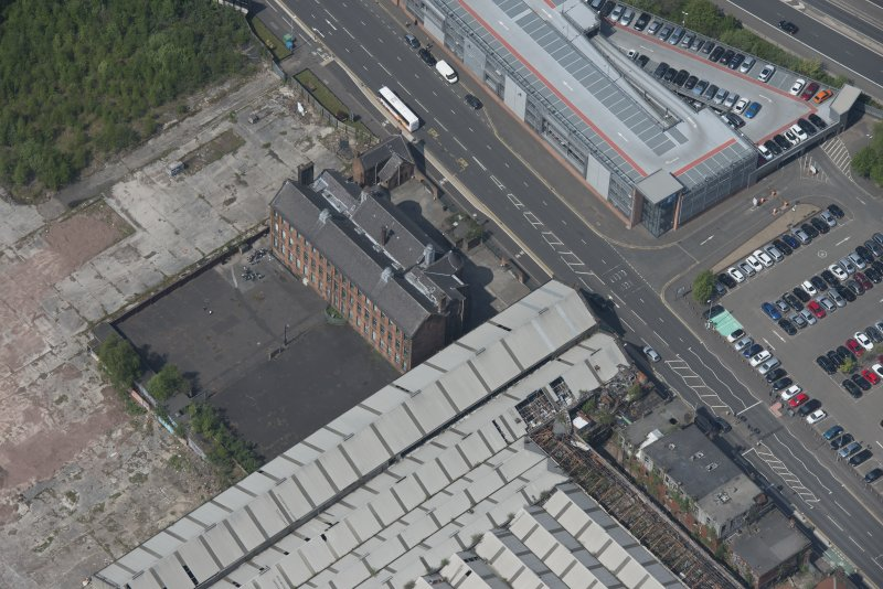 Oblique aerial view of Scotland Street Primary School, looking NW.