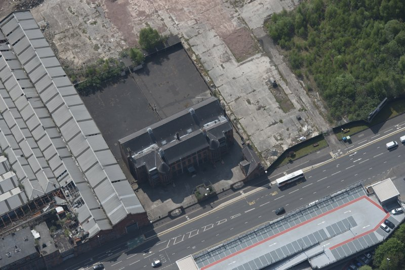 Oblique aerial view of Scotland Street Primary School, looking SW.