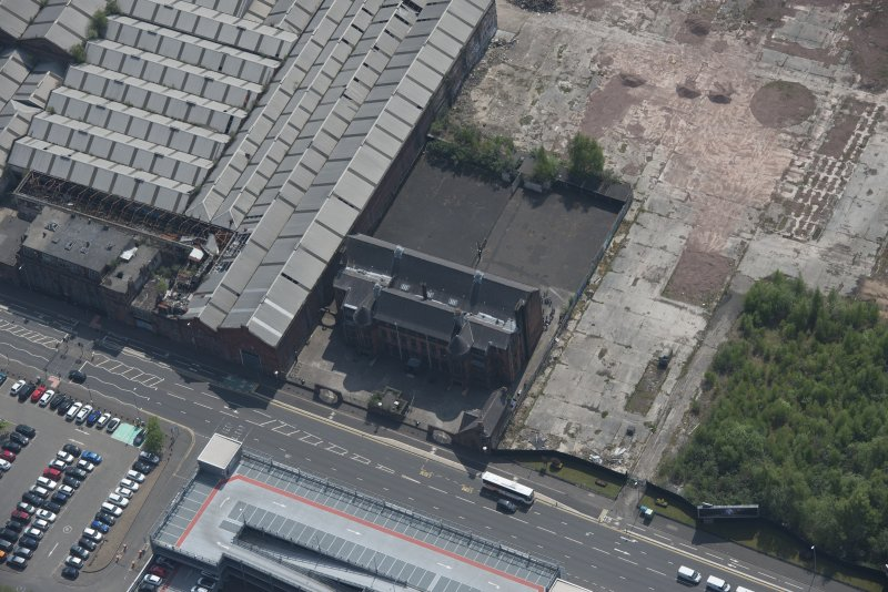 Oblique aerial view of Scotland Street Primary School, looking SSE.