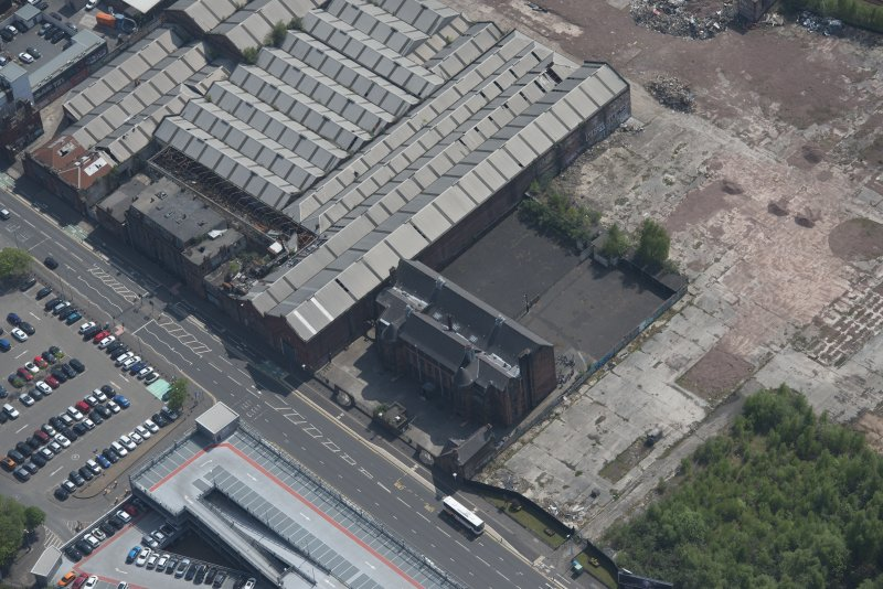 Oblique aerial view of Scotland Street Primary School, looking SE.