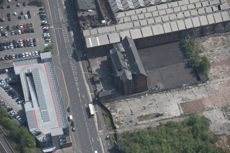 Oblique aerial view of Scotland Street Primary School, looking ESE.