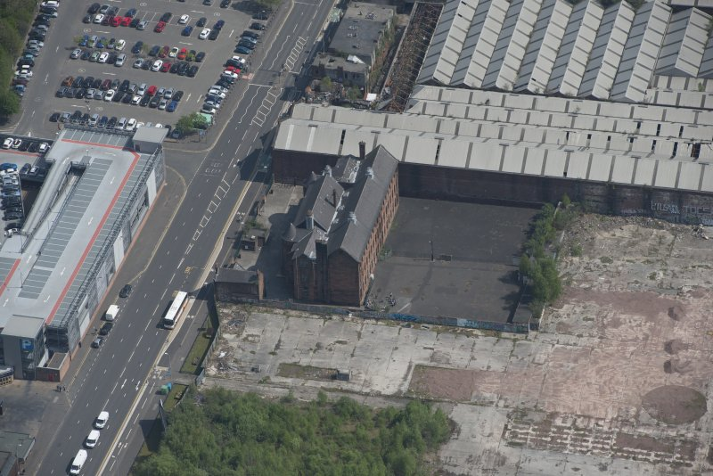 Oblique aerial view of Scotland Street Primary School, looking E.