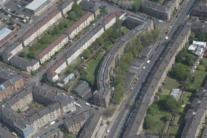 Oblique aerial view of Walmer Crescent, looking NE.