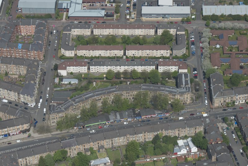 Oblique aerial view of Walmer Crescent, looking N.