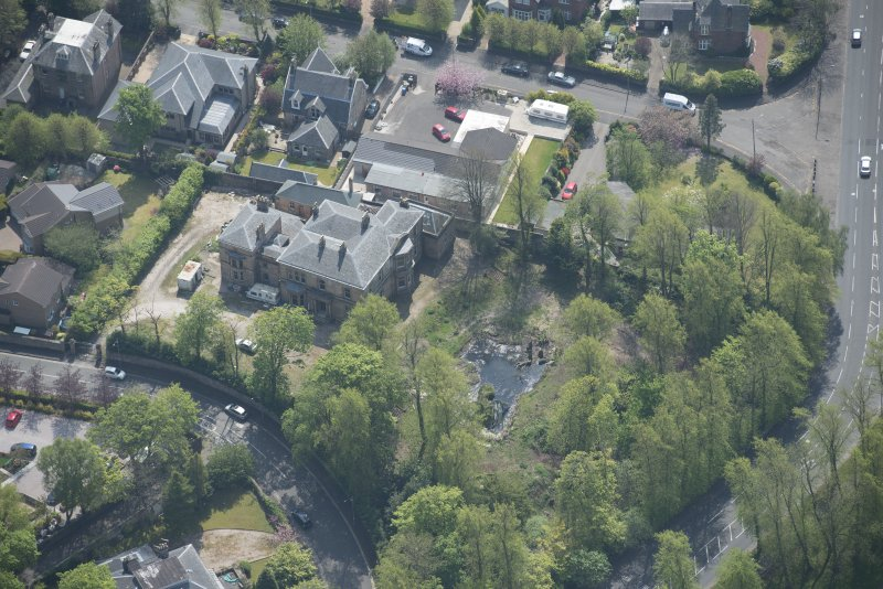 Oblique aerial view of Craigie Hall, looking S.