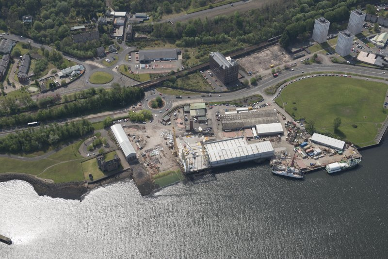 Oblique aerial view of Newark Castle, Ferguson Ailsa Shipyard and Newark Works, looking SW.