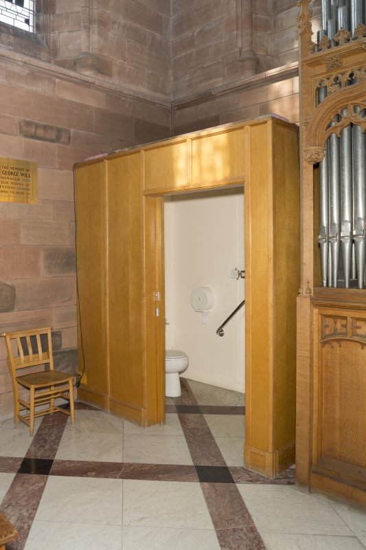 Detail of WC cubicle and organ.
