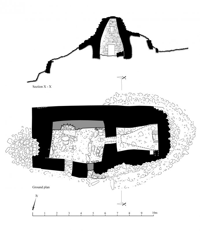 Publication drawing; chapel, ground plan and section