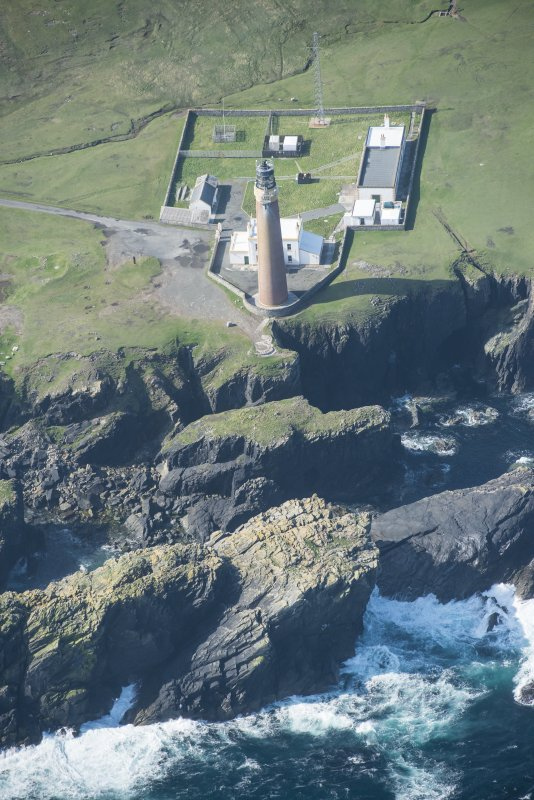 Oblique aerial view of Butt of Lewis lighthouse.