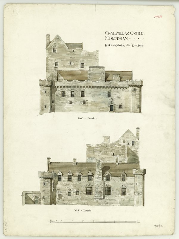 Drawing of East and West elevation of Craigmillar Castle.