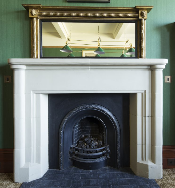 Ground floor. Detail of fireplace in the snooker room.
