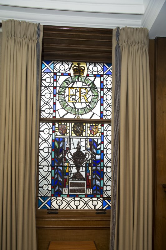 Ground floor. Trophy room stained glass window.