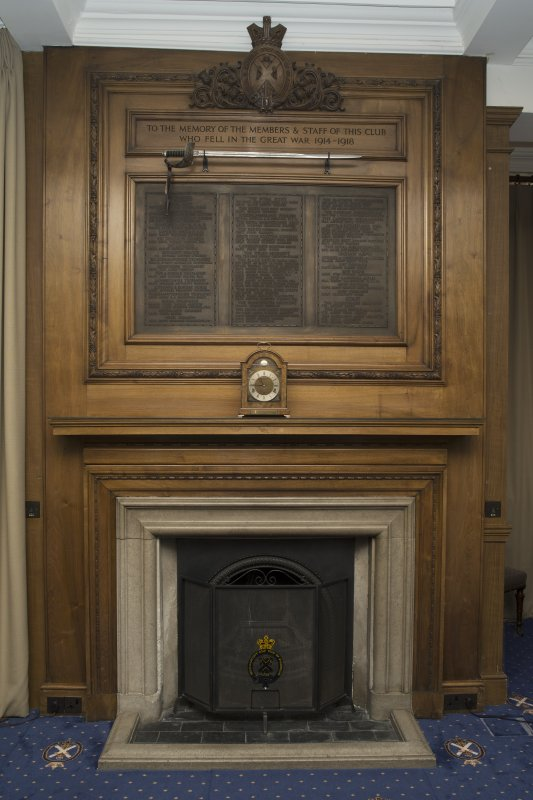 Ground floor. Trophy room. Detail of fireplace and WWI memorial.