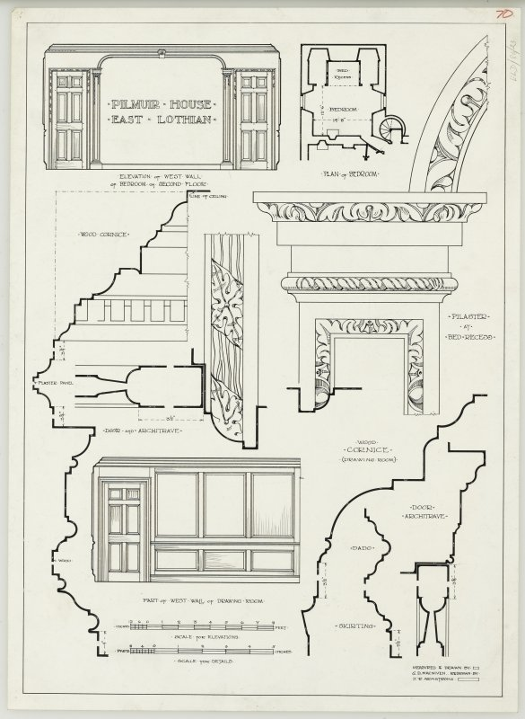 Drawing of plan, details, sections and elevations of Pilmuir House.