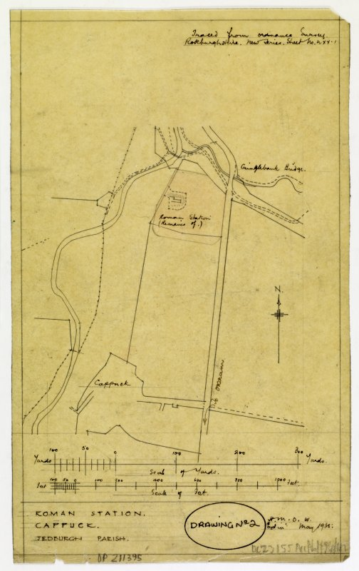 Map showing location of Cappuck roman fort