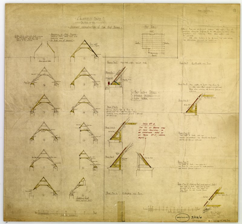 Amisfield Tower- drawing of proposed reconstruction of Oak Roof Trusses