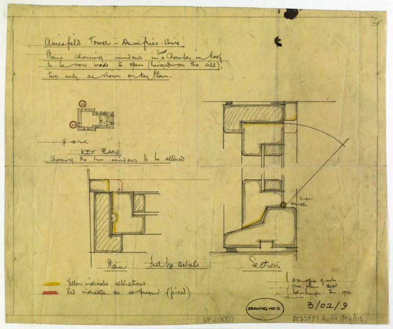 Plans showing windows in small chamber in roof of Amisfield Tower