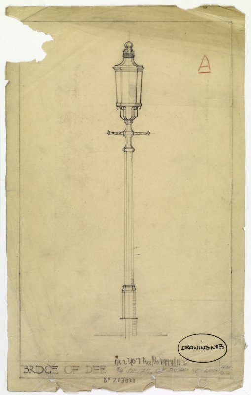 drawing of a lampost on the Bridge of Dee, Aberdeen
