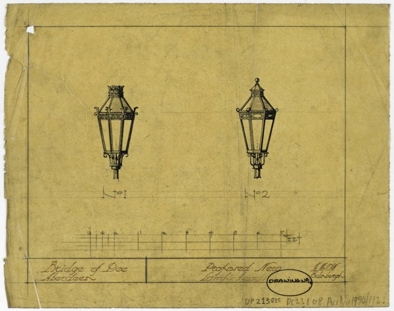 Drawing of proposed lampost heads on the Bridge of Dee, Aberdeen