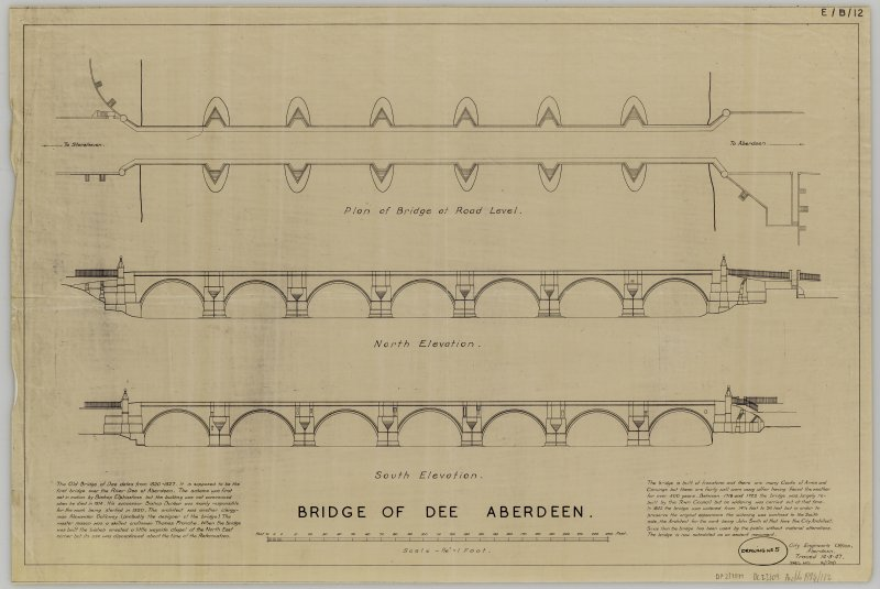 Plan and elevations of the Bridge of Dee, Aberdeen