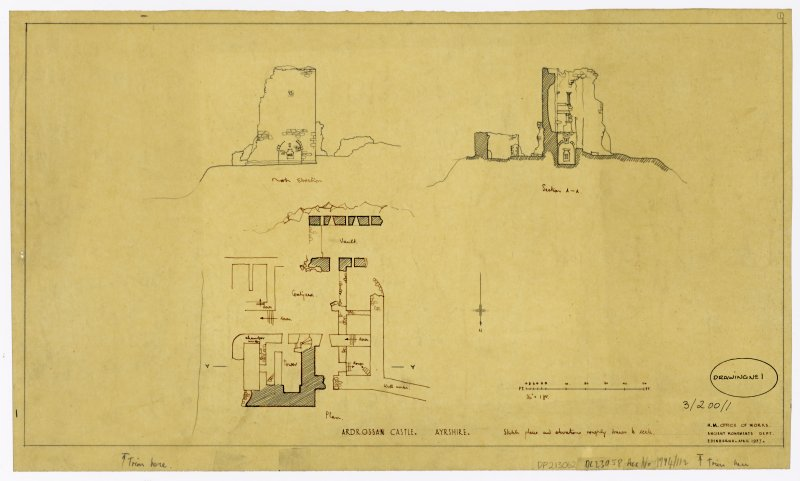 Sketch plans and elevations, Ardrossan Castle, Ayrshire