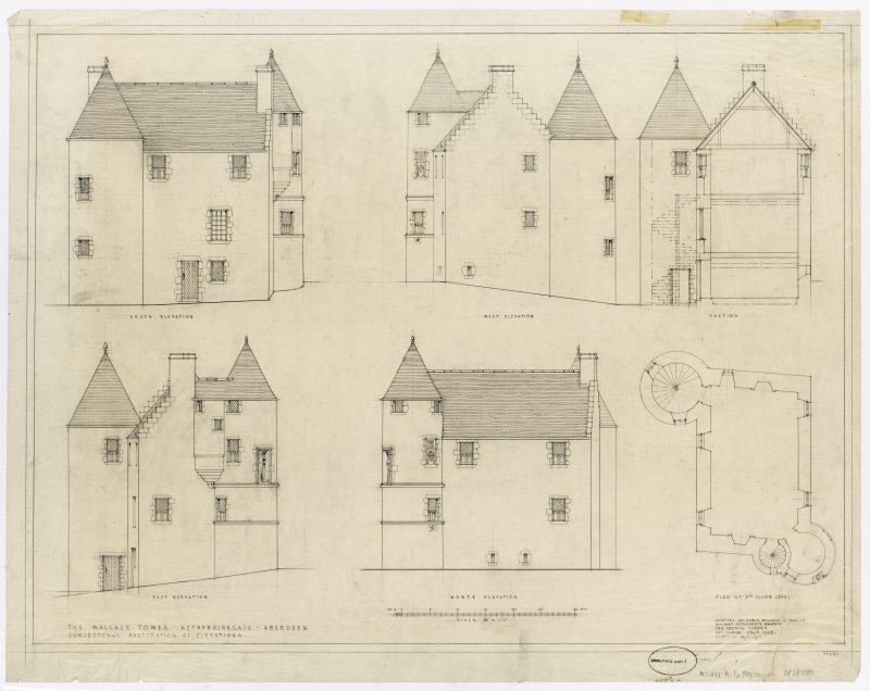 Elevations and floor plan of The Wallace Tower, Aberdeen