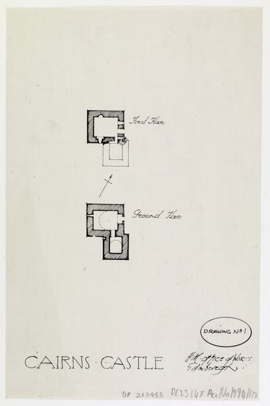Plan of first and ground floor of Cairns Castle.