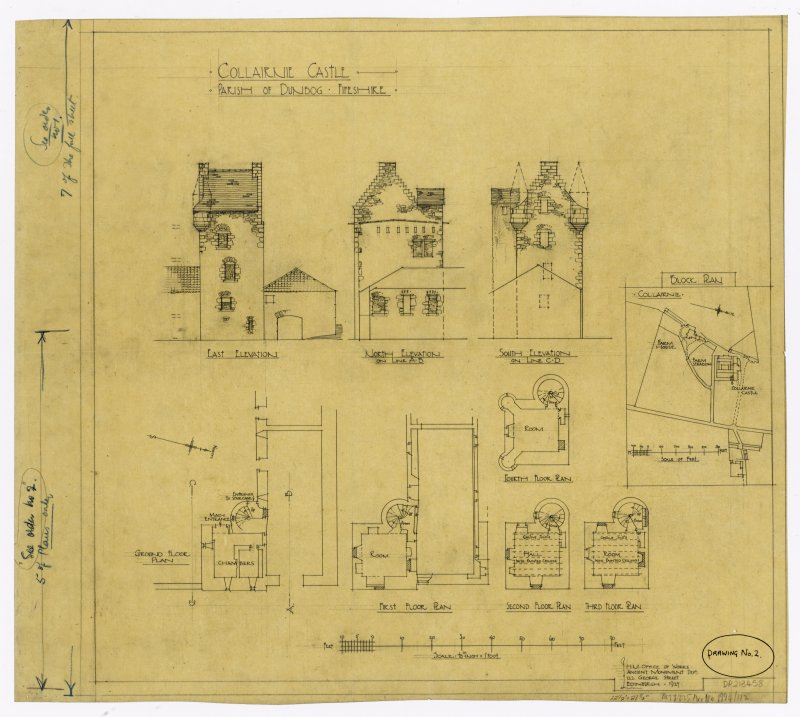 Plans and elevations of Collairnie Castle, Parish of Dunbog, Fife