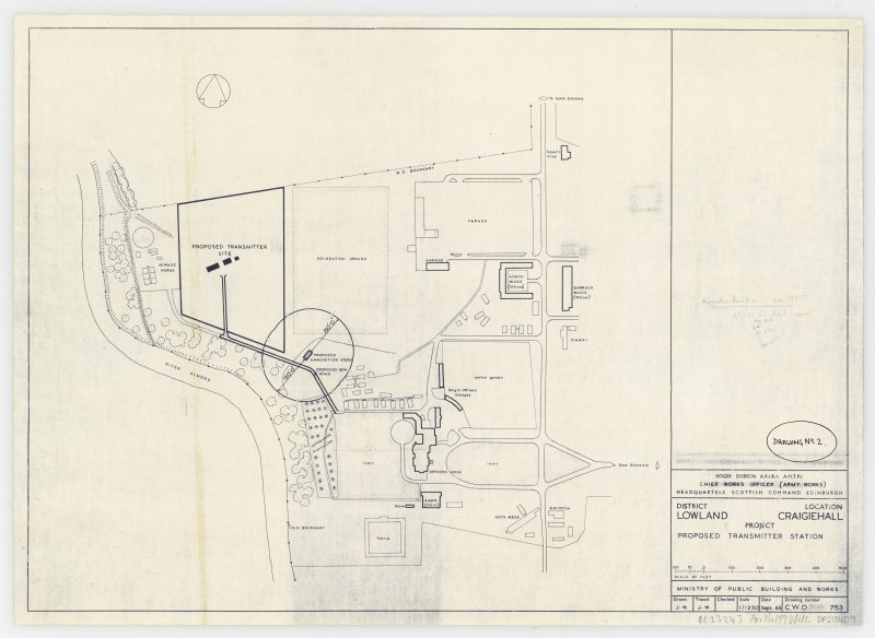 Site plan for Craigiehall with location of proposed transmitter station