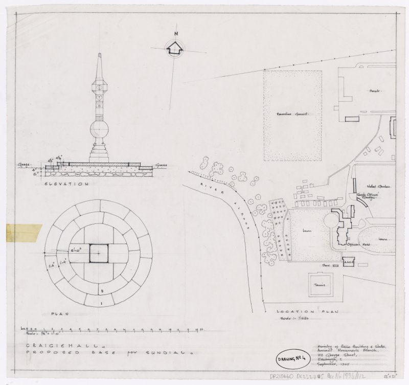 Location plan and plan for proposed base for sundial, Craigiehall
